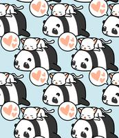 Seamless panda and cat pattern.