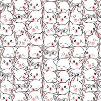 Seamless many white cat pattern.