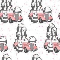 Seamless pandas and vintage car pattern.
