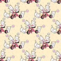Seamless kawaii cats with a pink tricycle pattern