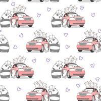 Seamless drawn kawaii cats and panda with pink car pattern.