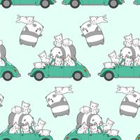 Seamless drawn kawaii cats and panda with car pattern.