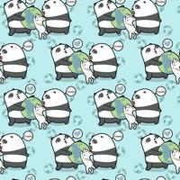 Seamless kawaii pandas and cat loves the world pattern