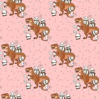 Seamless kawaii pandas and cats with dinosaur pattern