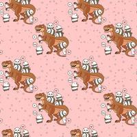 Panda e gatti kawaii senza soluzione di continuità con pattern di dinosauro