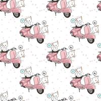 Seamless kawaii 2 white cats with motorcycle pattern