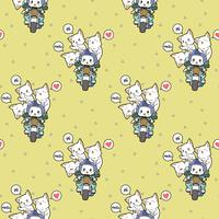 Seamless kawaii rider cat and friends pattern vector