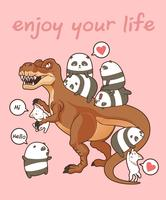 Kawaii pandas and cats with dinosaur