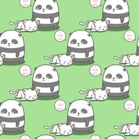 Seamless panda loves cat pattern.