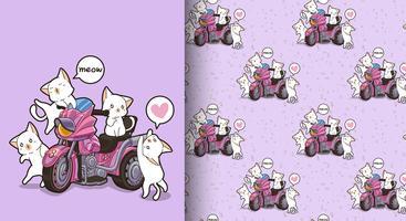 Sin fisuras patrón kawaii gatos y triciclos motor