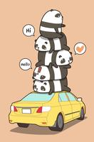 Pandas on the  yellow car in cartoon style.