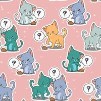 Naadloze kleine katten spelen baby mousy patroon.