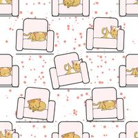 Seamless cat is sleeping on sofa pattern.