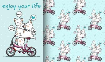 Seamless kawaii cat is riding a bicycle with friends pattern vector