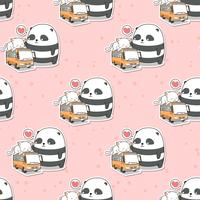 Seamless cute panda and cat who is on the bus pattern
