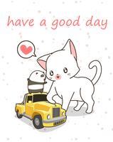 Gatto kawaii con piccola auto gialla