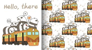 Seamless kawaii pandas on the train pattern