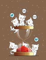 Kawaii gatos y reloj de arena