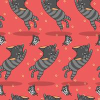 Seamless cute cat is catching butterfly pattern.