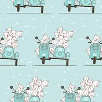 Seamless kawaii rider cat and friends with motorcycle pattern.
