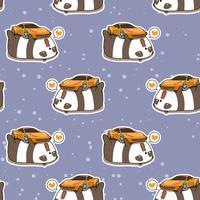 Seamless kawaii panda loves super car pattern