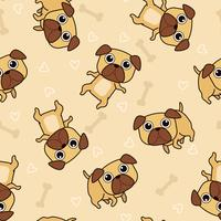 Seamless pug dog pattern.