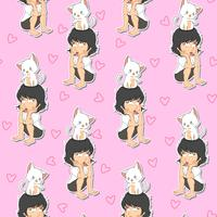 Seamless girl and cat pattern.