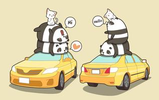 Pandas and cats on the  yellow car