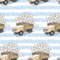 Seamless drawn kawaii cats on truck pattern.