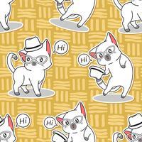 Nahtlose süße Katze sagt Hallo Muster.
