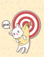 Kawaii kat en doel met pijl