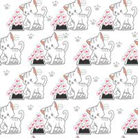 Seamless little cat and mobile phone pattern.