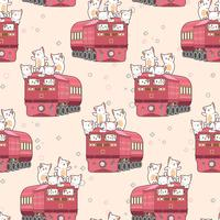 Seamless kawaii cat on the train pattern