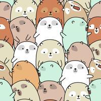 Seamless many cute bear pattern.
