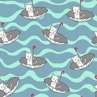 Seamless little white cat in umbrella pattern.