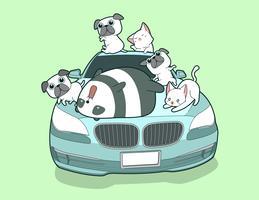 Animaux Kawaii et voiture auto bleue en style cartoon.
