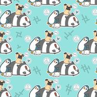 Seamless 4 animal characters pattern.