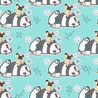 Seamless 4 animal characters pattern.