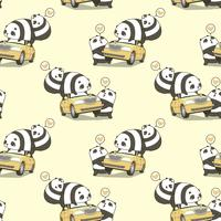 Seamless 3 kawaii panda characters with a car pattern