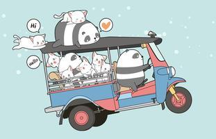 Dibujado kawaii gatos y panda en triciclo motor