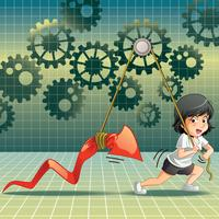 She is lifting stock in cartoon style.