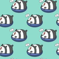 Seamless panda on lifebuoy pattern.