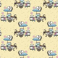 Seamless kawaii pandas with portable stall pattern vector