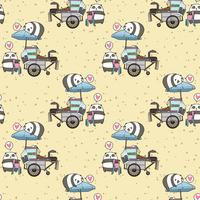 Panda kawaii senza soluzione di continuità con pattern portatile di stallo