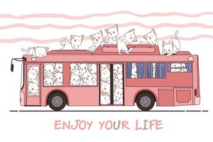 Kawaii katten en bus