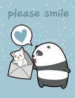 Panda de kawaii está segurando o gato no envelope