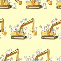 Seamless cute cats and the tractor pattern.