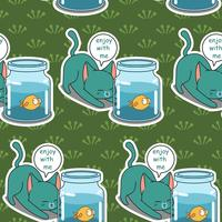 Seamless naughty cat and fish pattern.