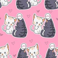 Seamless lover cats pattern. vector