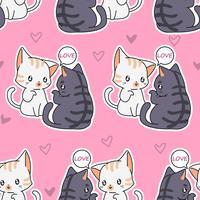 Motif de chats amoureux sans soudure.